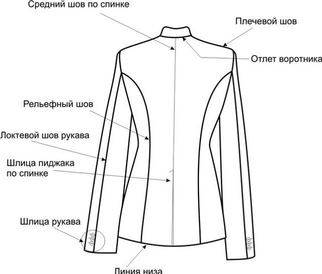 Фрагменты женского пиджака. Вид сзади