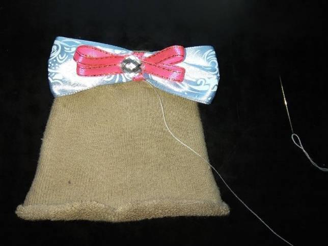 шапка из колготок для беби борна