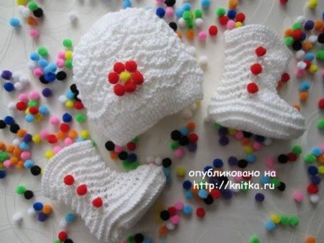 Пинетки спицами - работа Марии Гнедько. Вязание спицами.